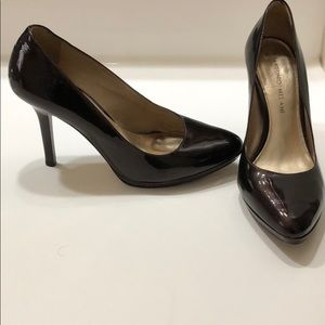 Chocolate brown patent leather heels